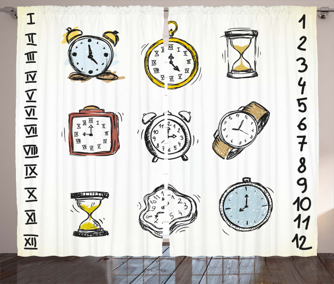 Hand Drawn Vintage Clock Curtain