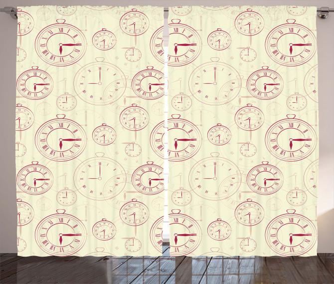 Roman Digits on a Clock Curtain