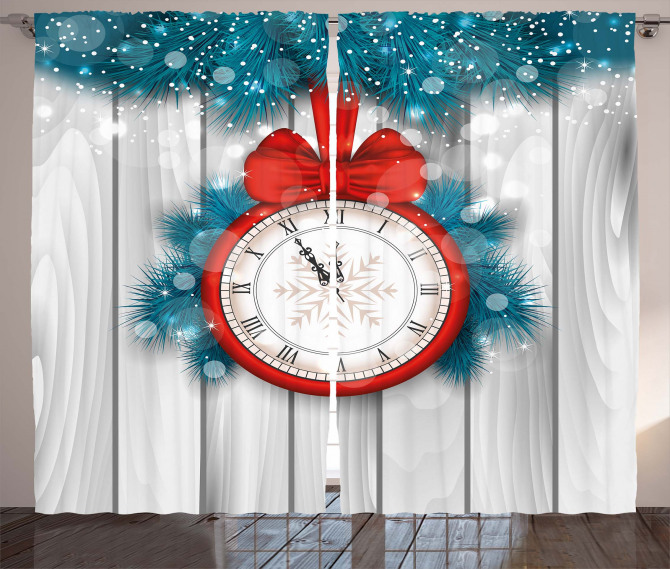 Midnight Clock Pine Curtain