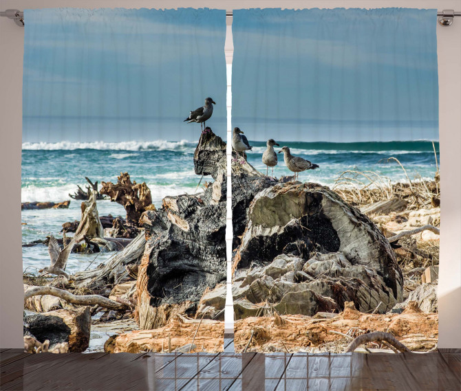 Driftwood Shore Seagull Curtain