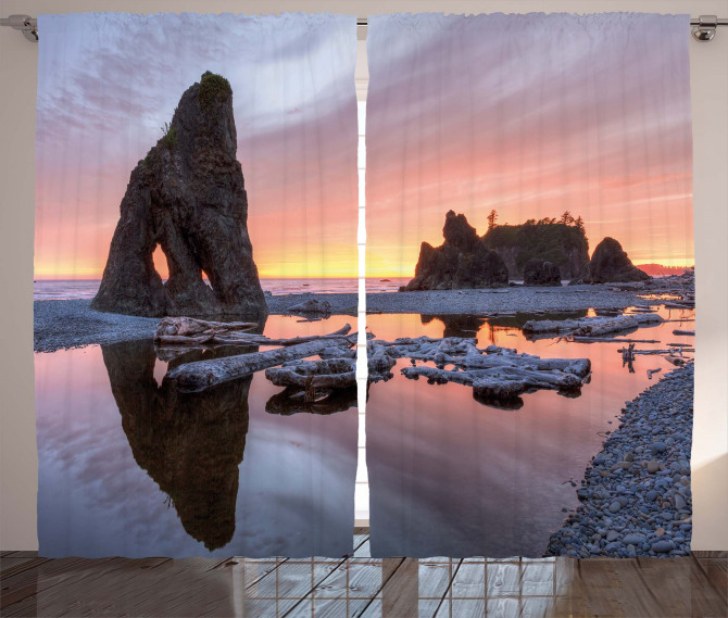 Sunset Sea Stacks Beach Curtain