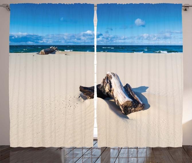 Sandy Sea Shore Digital Curtain