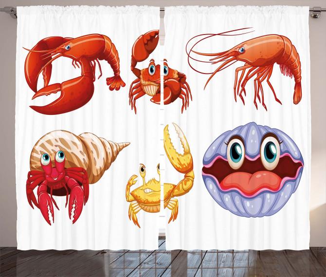 Crab Hermit Crab Lobster Curtain