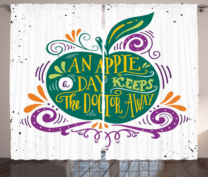 Eat Healthy Quote Curtain