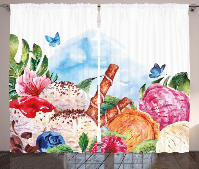 Dessert and Flower Art Curtain