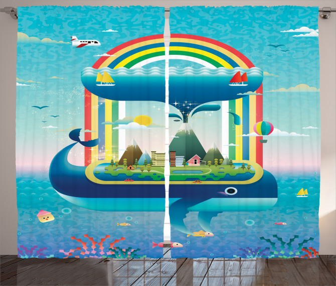Whale Rainbow Ocean Art Curtain
