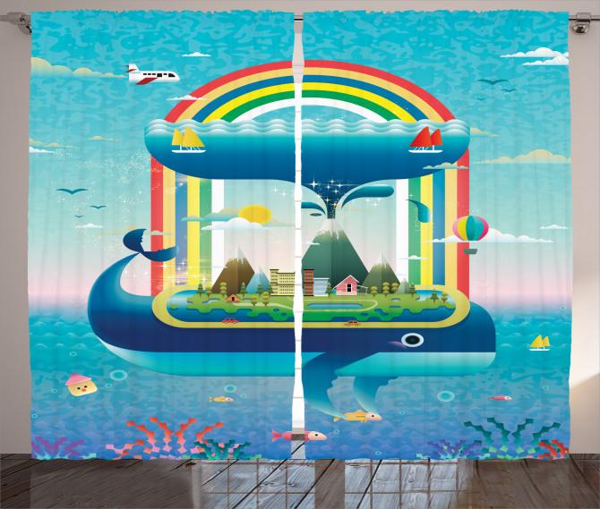 Whale Rainbow Ocean Art Curtain