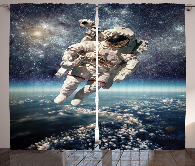 Astronaut Floats Outer Space Curtain