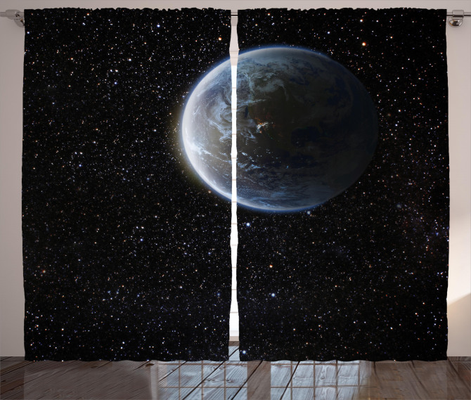 Moon Planet Earth Cosmos Curtain