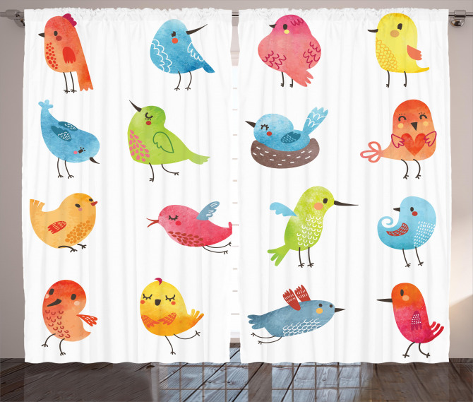 Colorful Cute Humor Bird Curtain