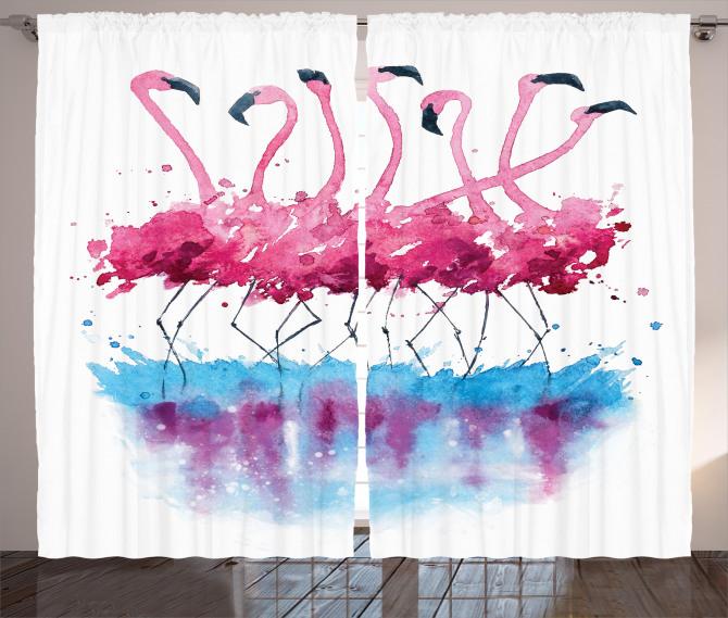 Lovely Flamingo and Bird Curtain