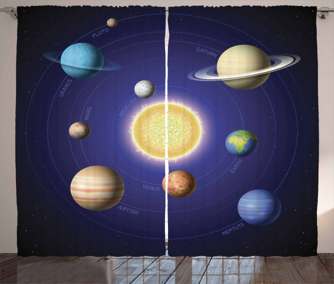Solar System with Planets Curtain