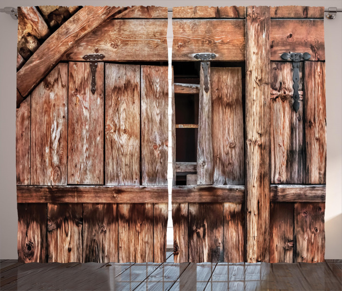 Oak Abandoned Barn Door Curtain