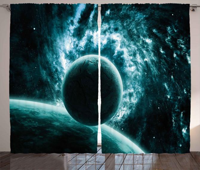 Solar System Star Scenery Curtain