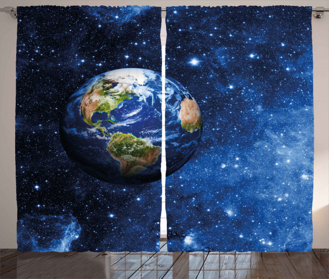 Planet Earth Solar System Curtain