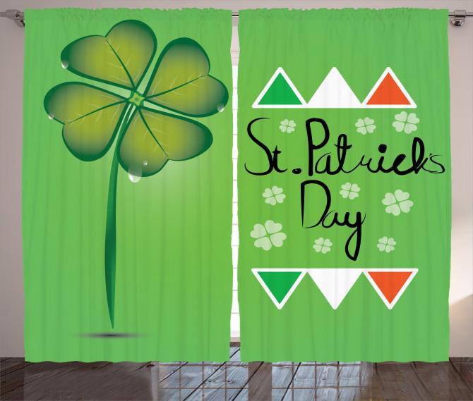 Dört Yapraklı Yonca Fon Perde İrlanda Bayrağı