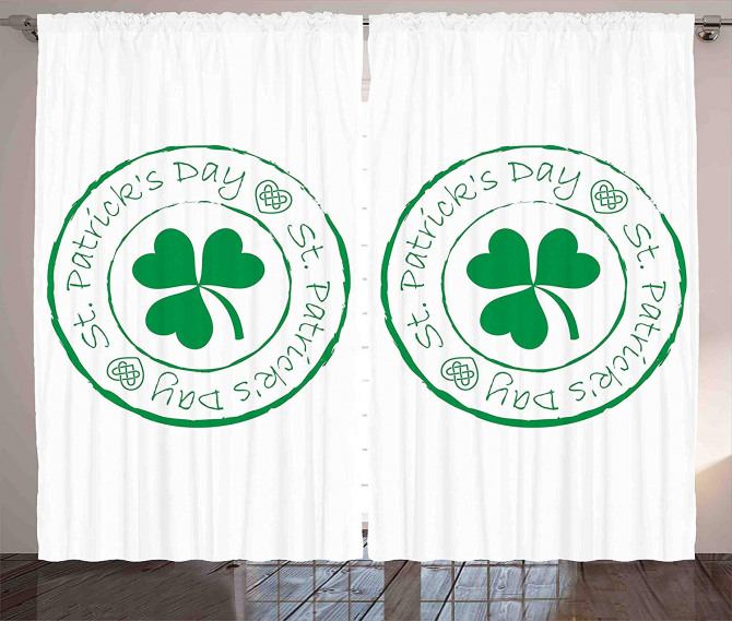 Yeşil Yoncalı Desen Fon Perde Aziz Patrik Günü