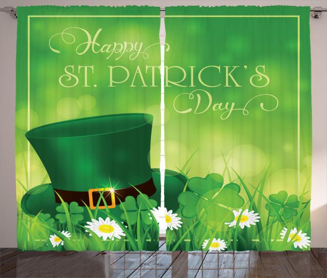 Yeşil Şapka ve Papatya Fon Perde Aziz Patrik Günü