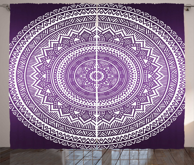 Mor Mandala Desenli Fon Perde Çiçekli