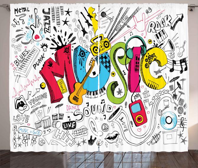 Müziğin Coşkusu Fon Perde Siyah Kırmızı Beyaz