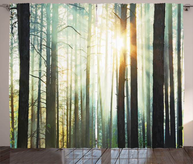 Fairy Foggy Forest Woods Curtain