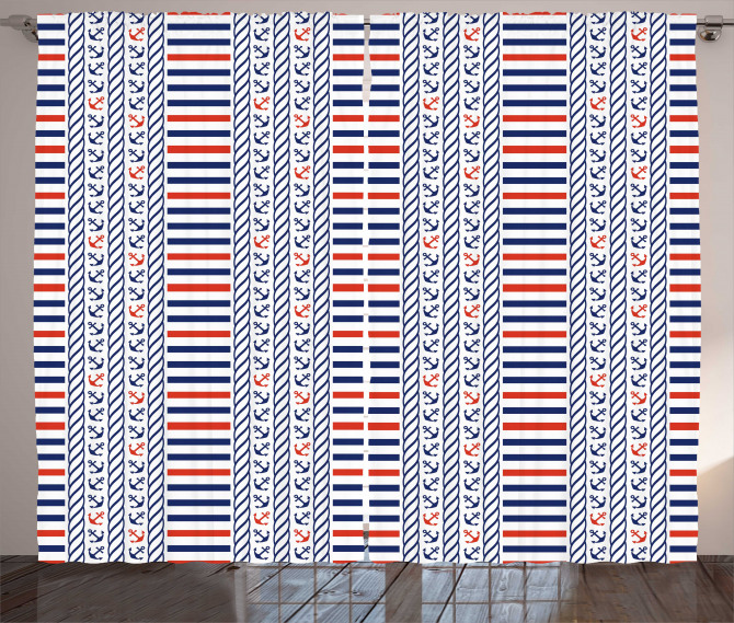 Marine Pattern Stripes Curtain