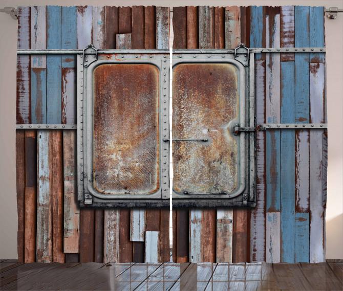 Rustic Curtain Metal Ship Door Sea Life Print 2 Panel Window Drapes