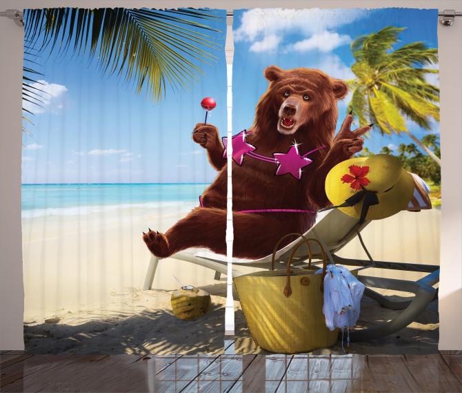 Animal Curtain Wild Hot Beach Sexy Bear Print 2 Panel Window Drapes