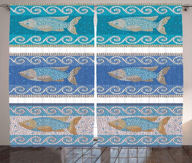 Mozaik Balık Desenli Fon Perde Dekoratif