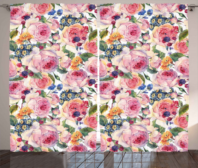 Shabby Chic Rose Floral Curtain