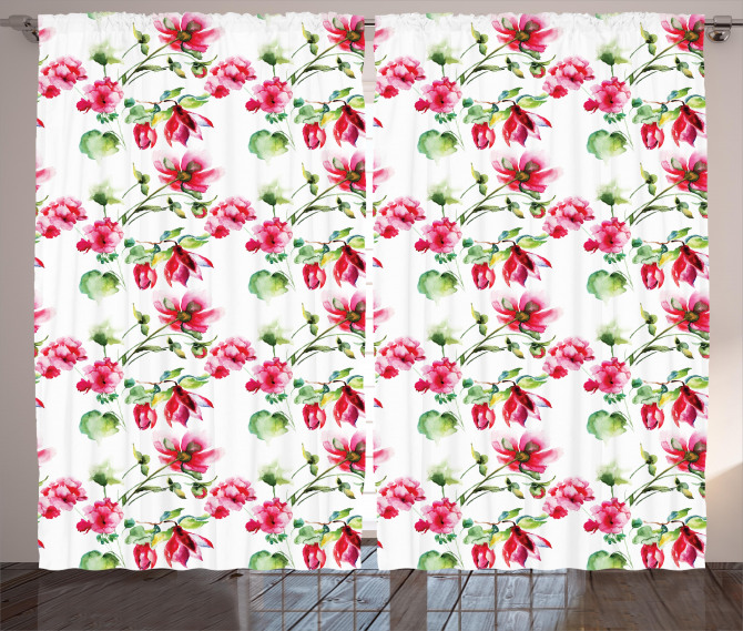 Shabby Chic Roses Tulips Curtain