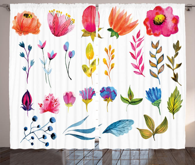 Watercolor Garden Design Curtain