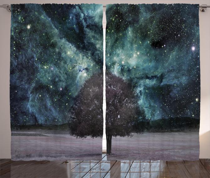 Nebula Galaxy Planet Tree Curtain