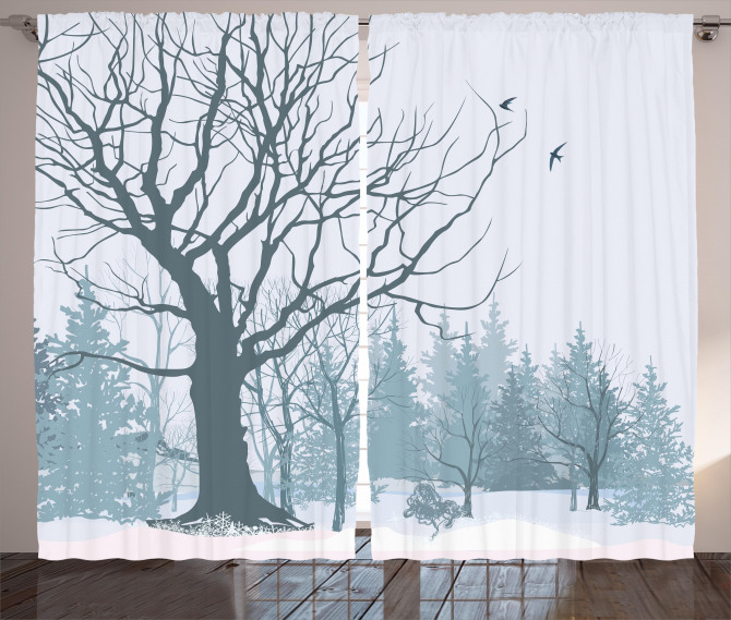 Snowy Forest Trees Birds Curtain