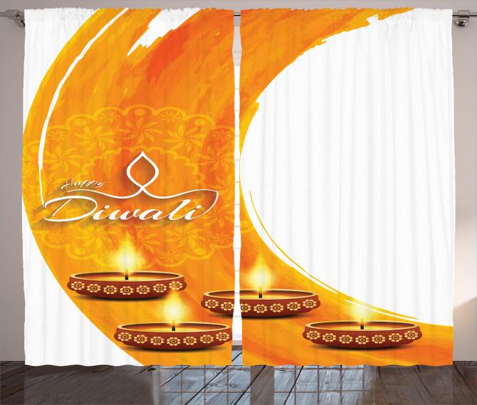 Diwali Candle Celebrate Curtain