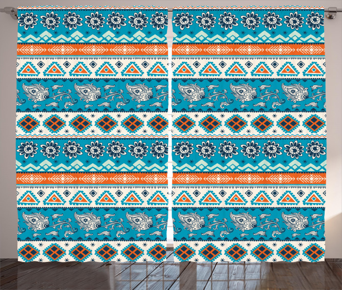 Floral Aztec Art Pattern Curtain