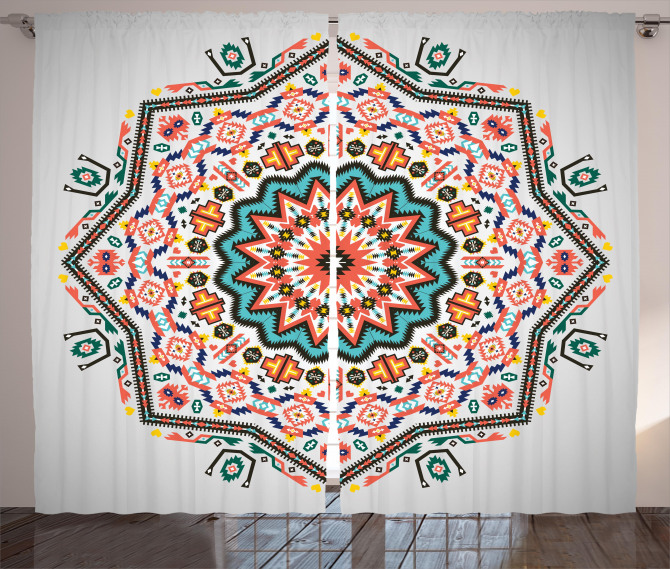 Abstract Sun Aztec Style Curtain