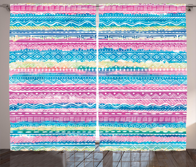 Watercolor Aztec Stripes Curtain