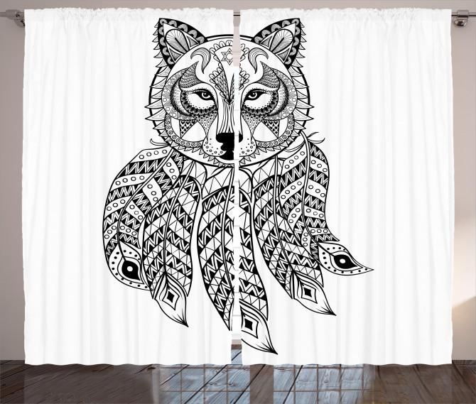 Native America Wolf Head Curtain