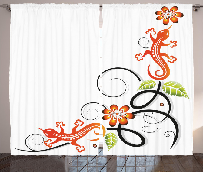 Baby Lizard and Flower Curtain