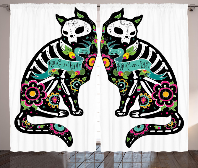 Skeleton Cats Skull Curtain