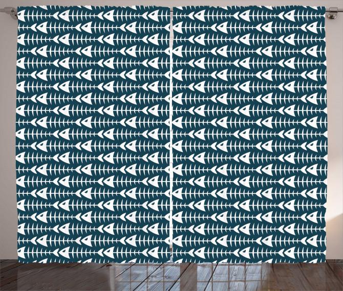 Fish Bone Skeleton Spine Curtain