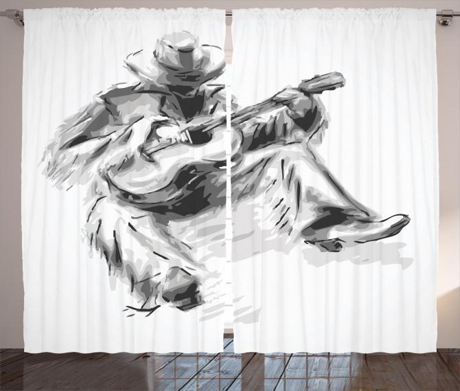 Cowboy and Guitar Eastern Curtain
