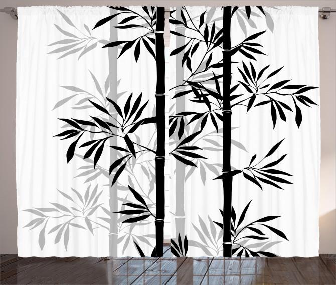 Bamboo Tree Leaves Zen Curtain