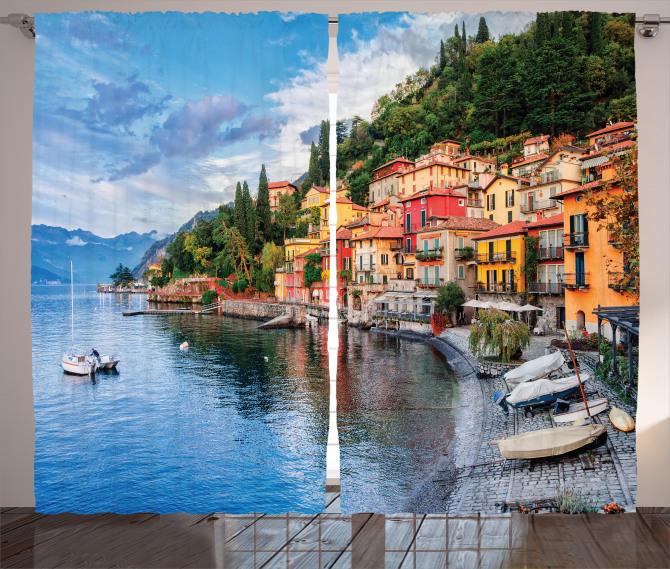 Yacht Boat Idyllic Town Curtain