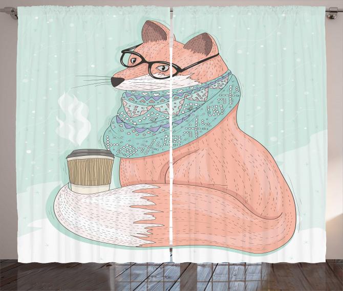 Cute Hipster Fox Glasses Curtain