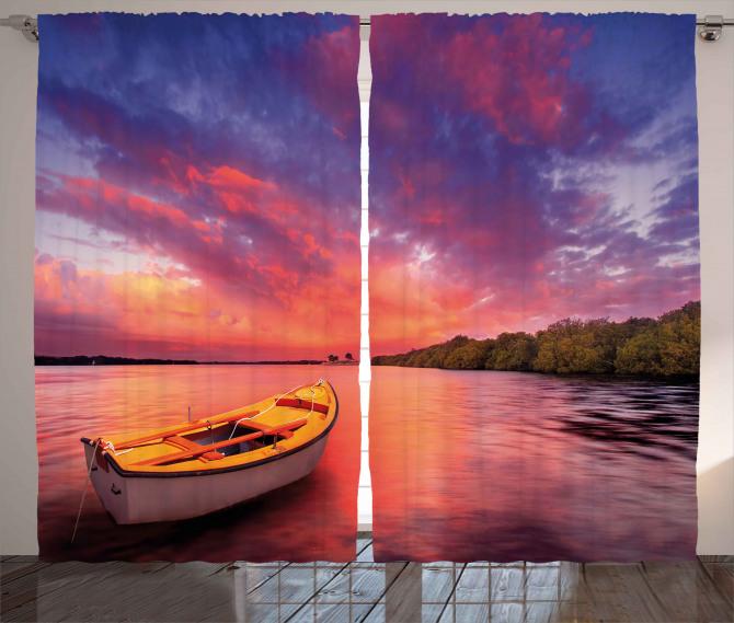 Sea Coast with a Rowboat Curtain