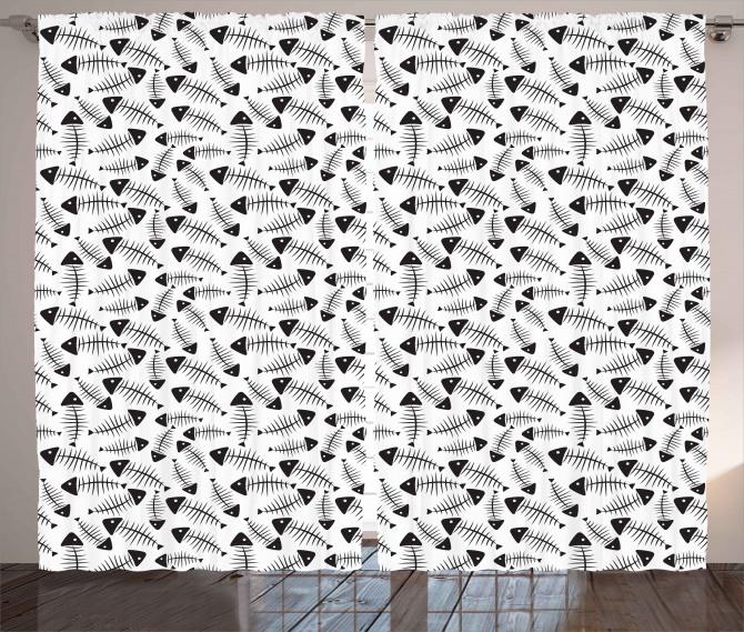 Funny Fish Bone Abstract Curtain