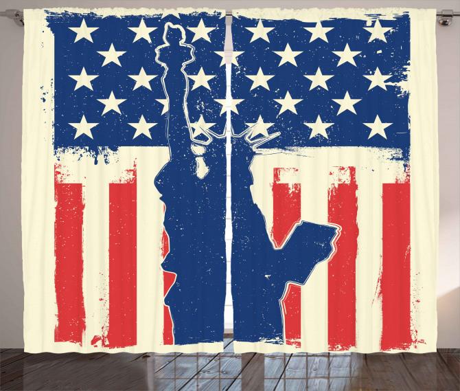 Grunge Flag Design Curtain