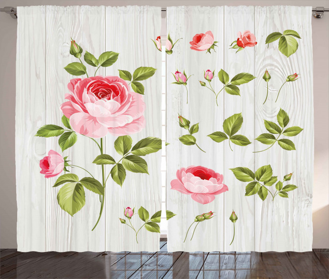 Vintage Rose Petals Leaf Curtain